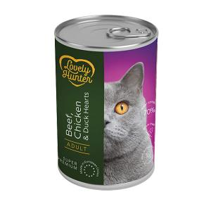 Lovely Hunter Beef, Chicken & Duck Hearts Adult Cats 400g